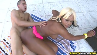 Oiled up ebony queen gets fucked rough by White man