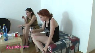 Ardent amateur slut Zuzinka has tough hot threesome with sexy redhead