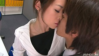 Japanese slutty secretary seduces her boss desiring to get poked