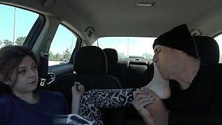 Blanc Foot worship in car