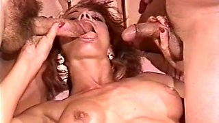 Incredible redhead white milf on the bed with two men