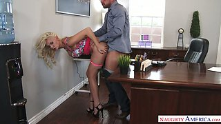 Secretary bitch Kenzie Taylor is having dirty sex right on the boss's table