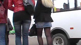 Up petticoat of blond schoolgirl
