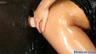 cockriding glam babe creampied at gloryhole