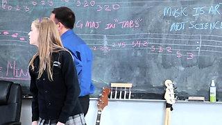 Eaten out teen fucks music teacher for cum