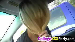 horny bitch lucy tyler and her boyfriend are having fun in the car