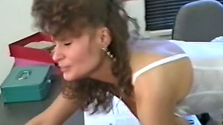 Fine and nasty brunette milf with big boobs gets facialized in the office