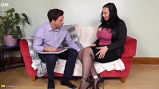 Voluptuous Brunette With Big Boobs, Anastasia Lux Got Her Daily Dose Of Fuck On The Sofa