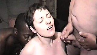 Nervous blonde sucks cock on camera