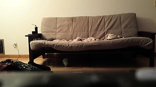 Alluring brunette milf takes a dick for a ride on the couch