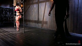 Chained babe Cherie Deville is punished by one kinky perverted guy