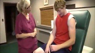 Nurse helps patient with a massive cumshot