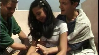 Barely legal Thai babe fucking two white dudes in a threesome