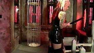 Smoking hot blonde Mistress Lola in action with her slave