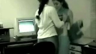 My cute office mate caught having lesbian fun on hidden camera