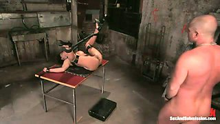 Busty secretary is punished by perverted boss in bdsm room