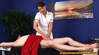 British CFNM masseuse tease and blows cock