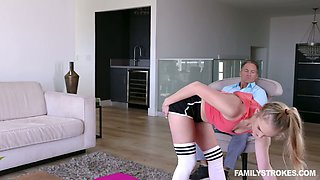 Slutty stepdaughter Natalie Knight teases with yummy pussy in ripped shorts