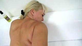 Blonde mature whore interviewed before hardcore fucking